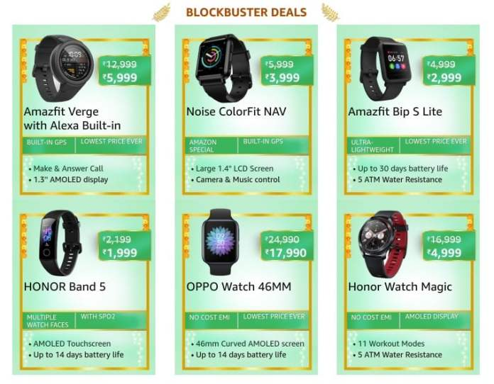 Blockbuster deals on Wearables on Amazon Great Indian Festival sale_TechnoSports.co.in