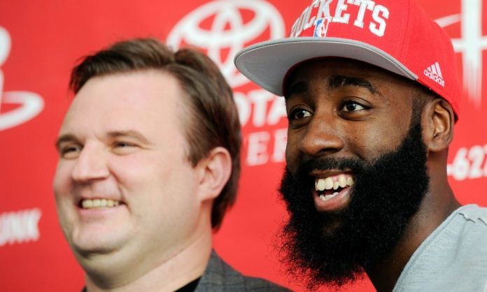 James Harden and Daryl Morey smile for the cameras.