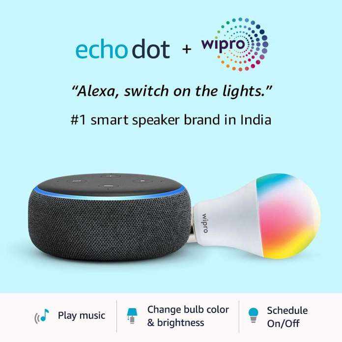 Amazon Echo Dot 3rd Gen & Wipro 9W LED Smart Bulb combo to available for only ₹2,299 on Prime Day