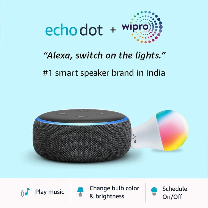 Echo Dot + Wipro 9W LED Smart Bulb will be available for ₹1,999 on Amazon Great Indian Festival