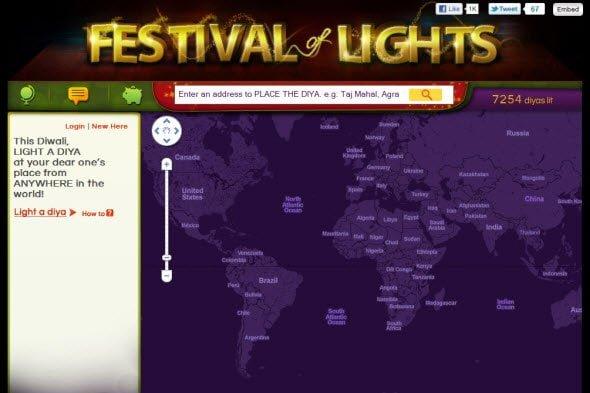 Light a virtual diya at anybodys place on map