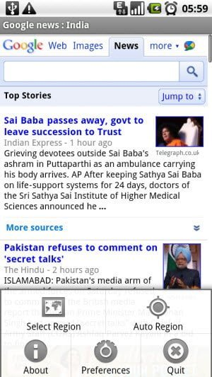Android app to access the regional Google News