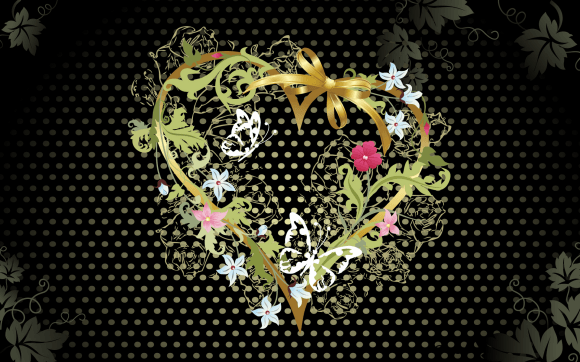 Black and Floral Valentine Day Wallpaper