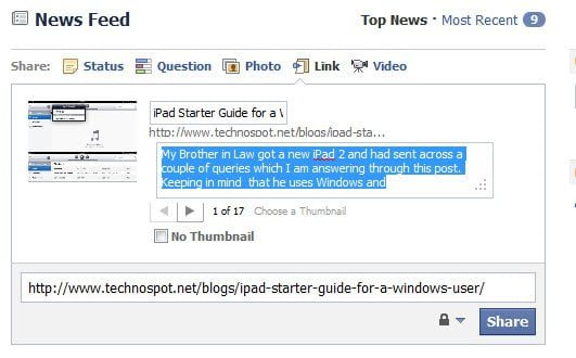Add details to link sharing on facebook
