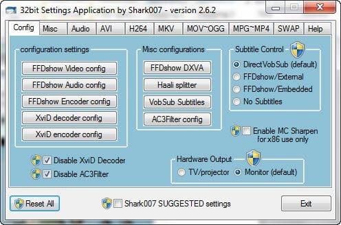 Codecs Windows 7 settings