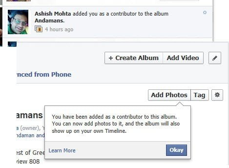 Contributor Notice on Facebook