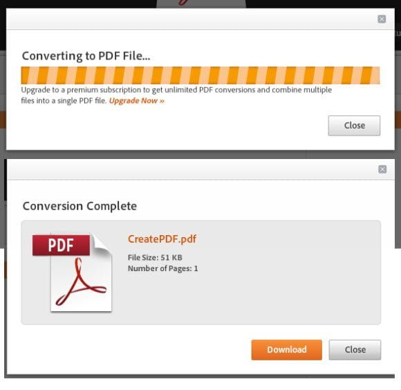 Create PDF Conversion