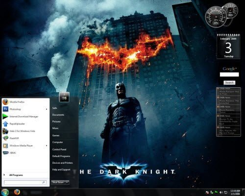 Dark Knight Gadget Windows 7 Theme