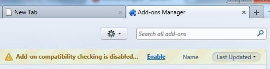 Enable Add-ons compatibility check