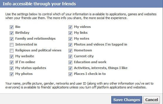 Facebook Apps Info accessible through your friends