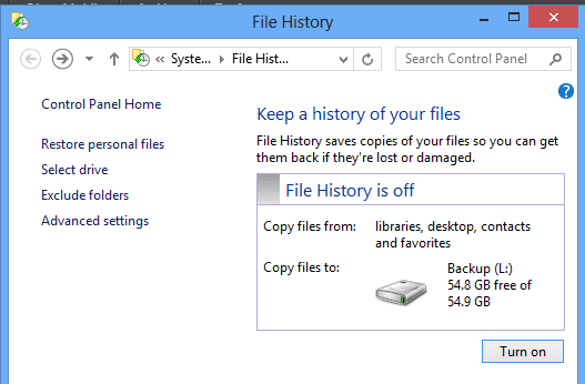 File history in Windows 10 to backup restore