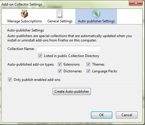 Firefox Add-on collector settings