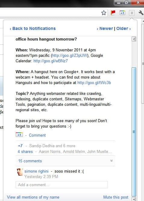 Google Plus Notification