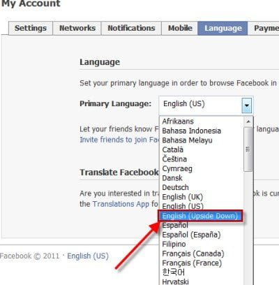 How to Flip your Facebook homepage upside down