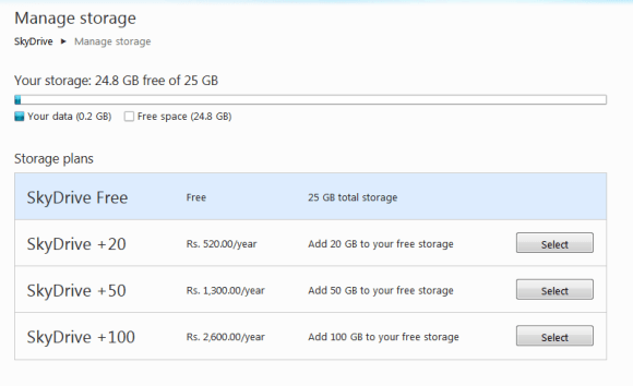 Manage Storage Space in Skydrive