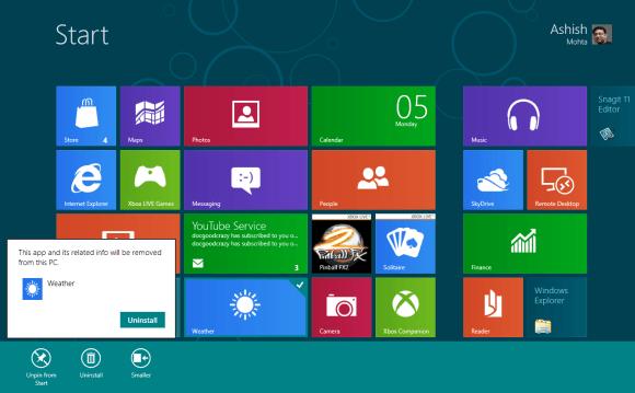Managing Tiles on Windows 8