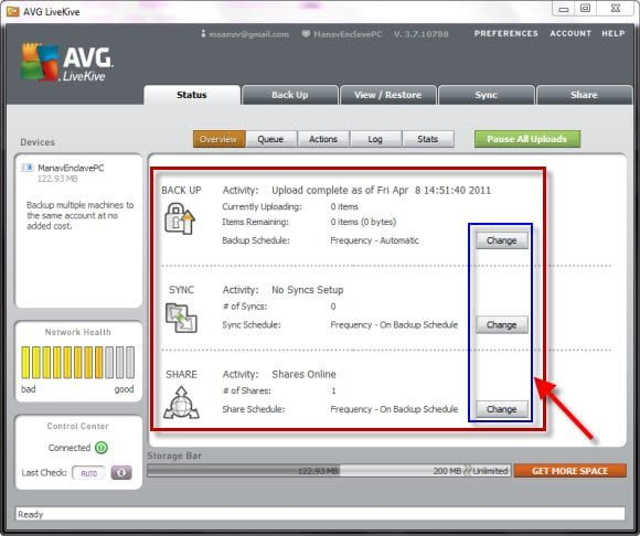 Online Backup, Sync and Sharing service by AVG LiveKive schedule