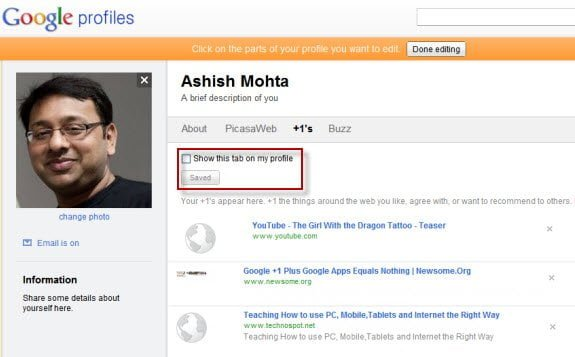 Plus One on Google Profiles