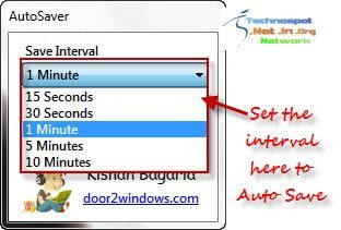 Set time interval for automatically saving files while you work on it AS