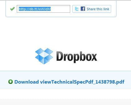 Shared link with Live Preview in Dropbox