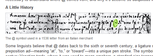 First use of @ by an Italian in 1536