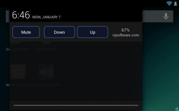 Volume in Notifcation Nexus 7