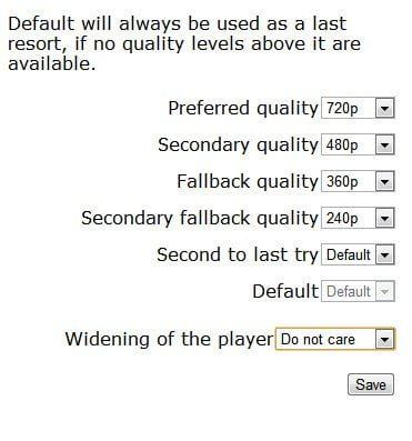 YouTube Video Quality Selector