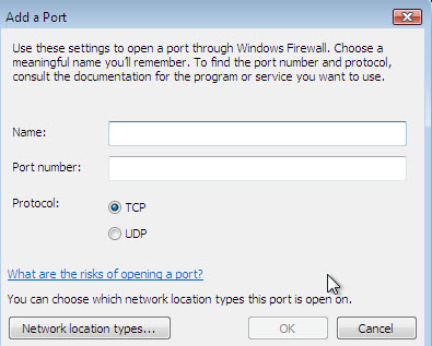 Add exceptional Ports to Windows Firewall
