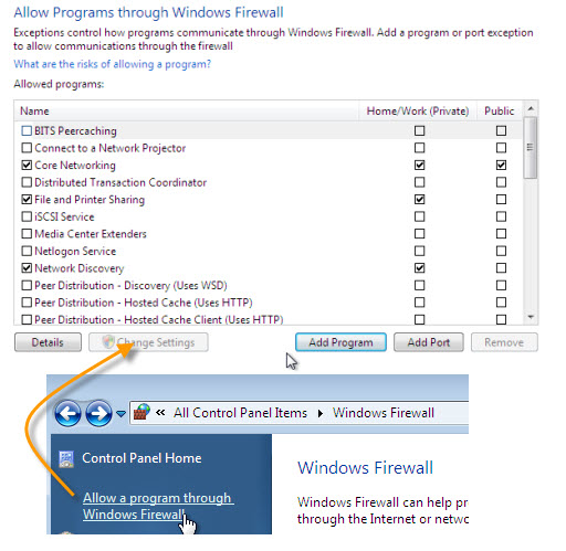 Add programs and ports into firewall allowed rules