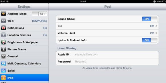 iPod Home Sharing Credentials