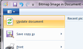 Update image to parent document in Wordpad Windows 7