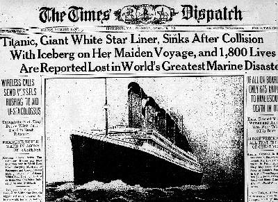 Titanic Crash in News Paper cutting