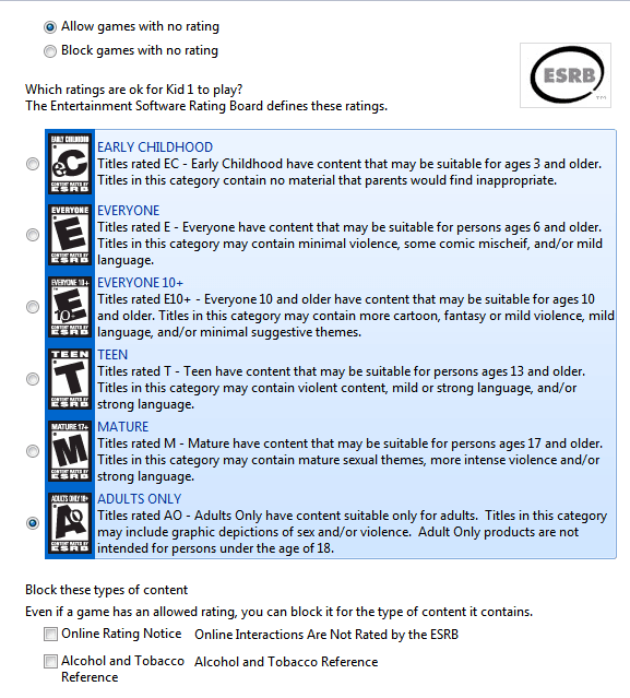 Parental control game rating system