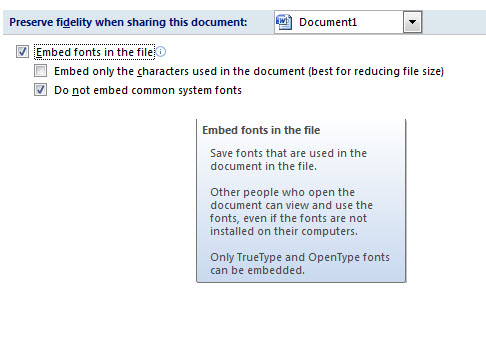 Preserving Font Types in Microsoft Office