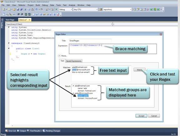 Regex editor for Visual Studio 2010