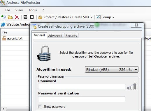 Self decrypting password protected archive