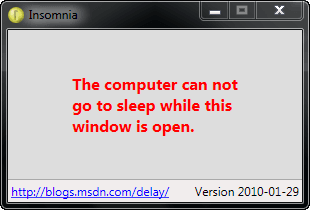 temporarily prevent your computer from sleeping with Insomnia