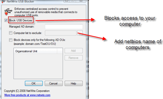 Block USB access to computers