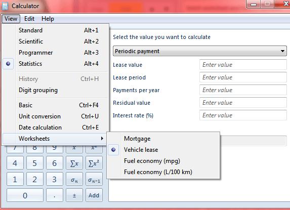 Windows 7 calculator
