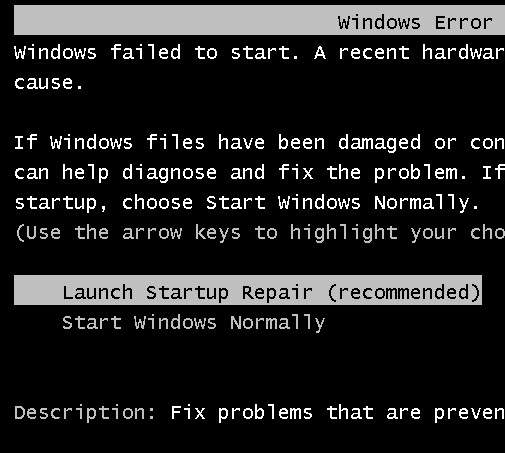 Windows 7 Features : Menu to repair on Startup