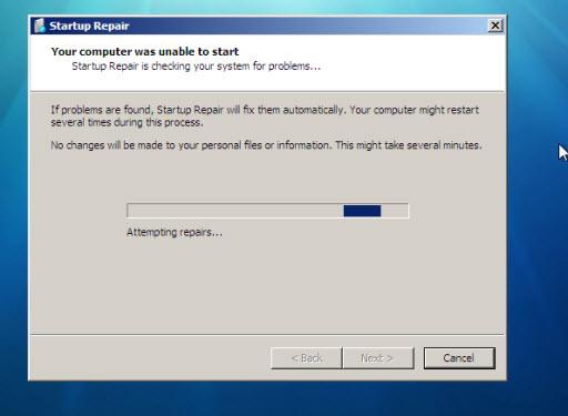Windows 7 Features : Startup Repair