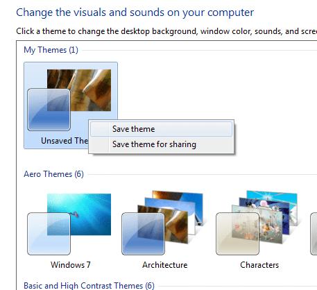 Windows 7 save custom themes