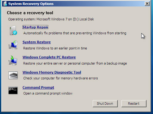System Recovery tools in Windows Vista and Windows 7