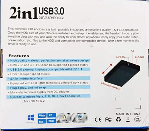 Technotech 2 in 1 USB 3.0 SATA Dual Hard Drive Enclosure HDD Casing (TTC11)