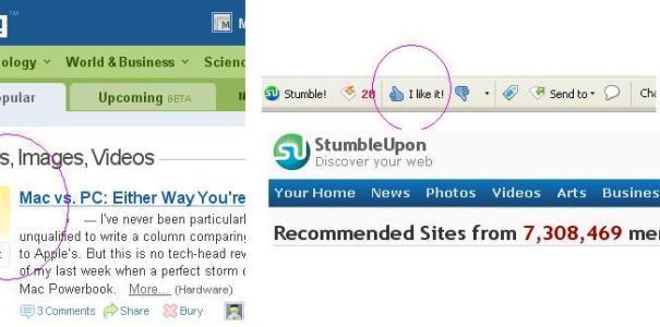 Digg AND stumbleupon