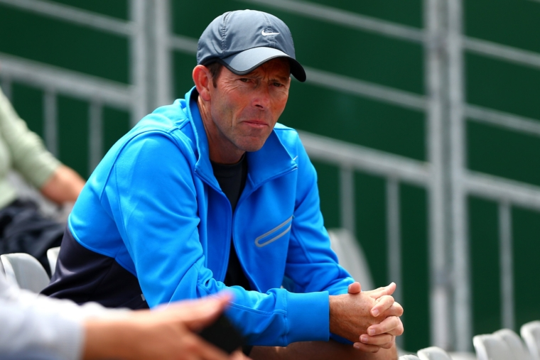 PARIS, FRANCE - JUNE 02: Jeremy Bates, coach of Katie Boulter of Great Britain watches her girls' singles match against Raveena Kingsley of the United States on day nine of the French Open at Roland Garros on June 2, 2014 in Paris, France. (Photo by Dan Istitene/Getty Images)