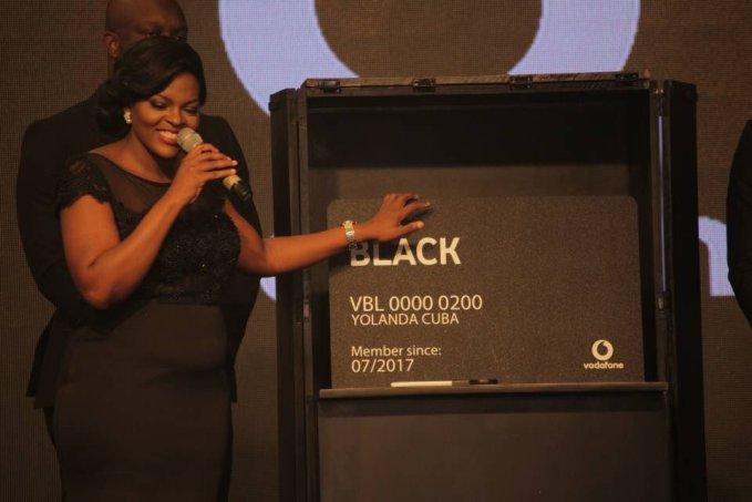 Yolanda Cuba (CEO Of Vodafone) showcasing a Vodafone Black card | Image Credit: AON (Twitter)