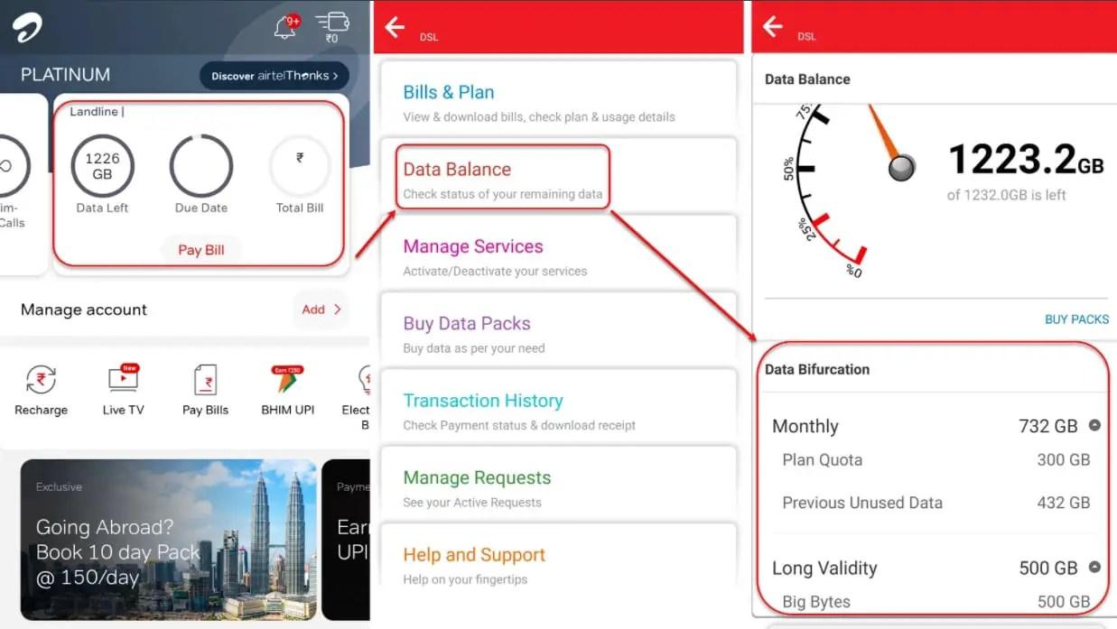 How to check your Airtel broadband data balance?