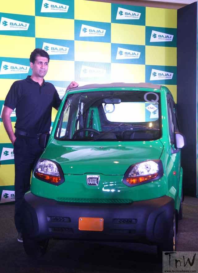 "Rajiv Bajaj, MD, Bajaj Auto at the launch of RE60 ""Qute"""