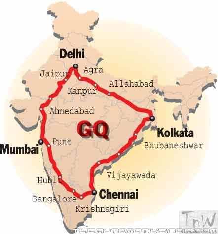 Golden Quadrilateral Map - image: theautomotiveindia